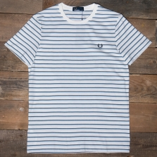 Fred Perry M5573 Fine Stripe T Shirt 129 Snow White
