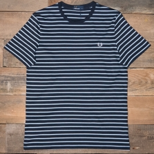 Fred Perry M5573 Fine Stripe T Shirt 608 Navy