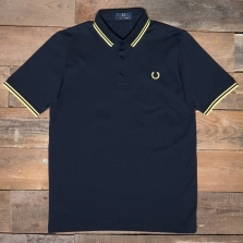 Fred Perry M102 Made In Japan Pique Shirt H60 Navy Bright Yellow