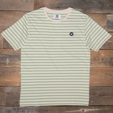 WOOD WOOD Ace Badge Striped T Shirt Off White Green