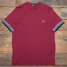 Fred Perry M6528 Striped Cuff T Shirt 106 Maroon