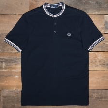 Fred Perry M6514 Stripe Collar Pique Henley 608 Navy