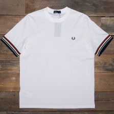 Fred Perry M6528 Striped Cuff T Shirt 129 Snow White