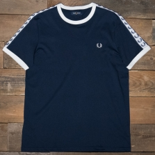 Fred Perry M6347 Taped Ringer T Shirt 885 Carbon Blue