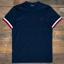 Fred Perry M7539 Bold Tipped T Shirt 266 Carbon Blue