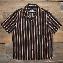 Fred Perry Sm7018 Miles Kane Stripe Print Bowling Shirt I84 Black