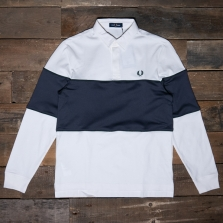 Fred Perry M7576 Panelled Ls Polo Shirt 129 Snow White