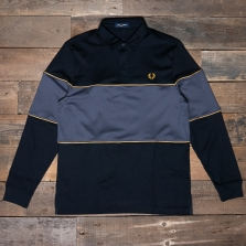 Fred Perry M7576 Panelled Ls Polo Shirt 102 Black