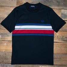 Fred Perry M7573 Marl Stripe T Shirt 102 Black