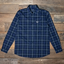 Fred Perry M7609 Button Through Tartan Shirt 126 Medieval Blue