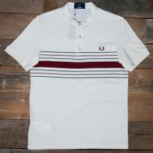 Fred Perry M8804 Collarless Striped Pique Shirt 560 Ecru