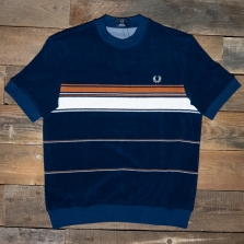 Fred Perry M8802 Striped Towelling T Shirt 143 French Navy