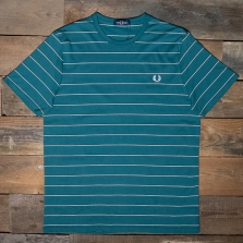 Fred Perry M8532 Fine Stripe T Shirt L 27 Light Petrol