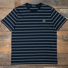 Fred Perry M8532 Fine Stripe T Shirt 248 Navy