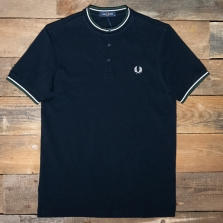 Fred Perry M9600 Striped Neck Henley Shirt 608 Navy