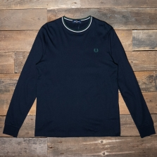 Fred Perry M9602 Twin Tipped Ls T Shirt 608 Navy
