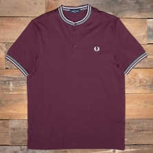 Fred Perry M9650 Henley Collar Polo Shirt 799 Mahogany