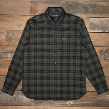 Fred Perry M9640 Brushed Oxford Tartan Shirt 617 Forest Night