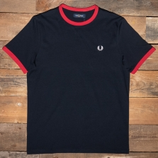 Fred Perry M3519 Ringer T Shirt M40 Navy Blood