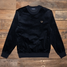 Fred Perry M1634 Woven Cord Sweatshirt 608 Navy