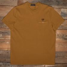 Fred Perry M8531 Pocket Detail Pique Shirt 644 Dark Caramel