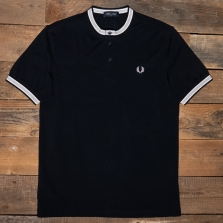 Fred Perry M1556 Textured Tipped Henley Polo 608 Navy