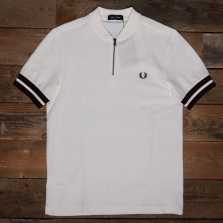 Fred Perry M1623 Tipped Cuff Zip Neck Polo 129 Snow White