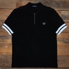Fred Perry M1623 Tipped Cuff Zip Neck Polo 102 Black