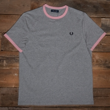 Fred Perry M3519 Ringer T Shirt 495 Steel Marl