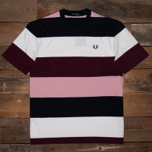 Fred Perry M1616 Bold Stripe T Shirt 129 Snow White