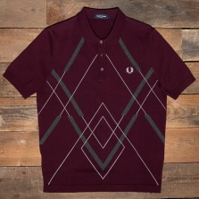 Fred Perry K1535 Abstact Argyle Knitted Shirt 799 Mahogany