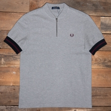 Fred Perry M1623 Tipped Cuff Zip Neck Polo 420 Steel Marl
