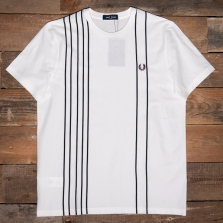 Fred Perry M1686 Refined Cotton Striped T Shirt 129 Snow White