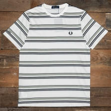 Fred Perry M1681 Striped T Shirt 129 Snow White
