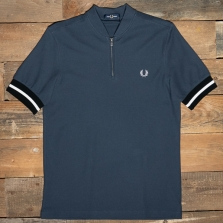 Fred Perry M1623 Tipped Cuff Zip Neck Polo 738 Dark Airforce