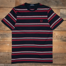 Fred Perry M1681 Striped T Shirt 608 Navy