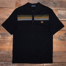 Fred Perry M2541 Engineered Stripe Henley Shirt 102 Black