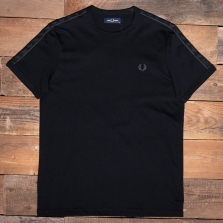 Fred Perry M2681 Tonal Taped Ringer T Shirt 102 Black