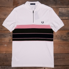 Fred Perry M2537 Towelling Zip Neck Polo Shirt 129 Snow White