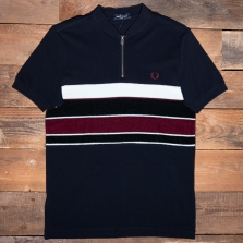 Fred Perry M2537 Towelling Zip Neck Polo Shirt 608 Navy